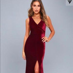Lulus Crushin It Burgundy Velvet Dress
